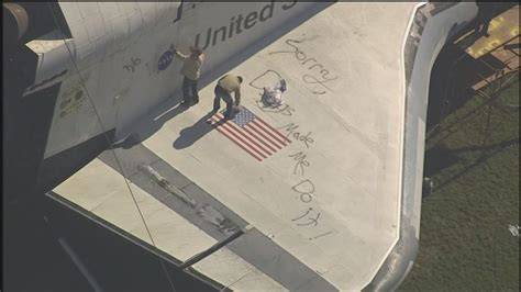 spray paint houston vandals spray paint messages on replica shuttle at space