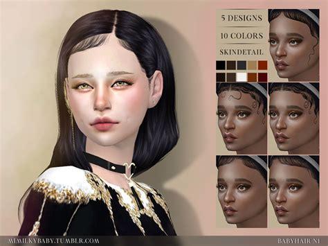 cc hair sims 4 baby mimilky babyhair n1 5 designs x 10 colors custom
