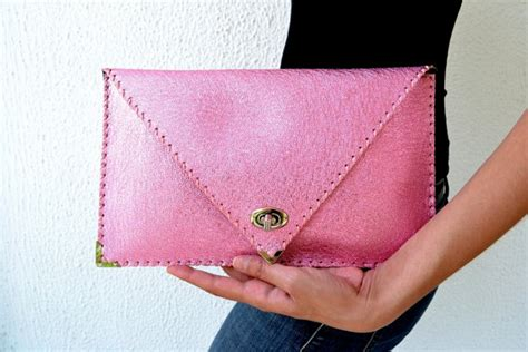 Clutch Handmade - pink purple leather clutch handmade leather bag by