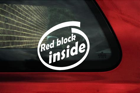 red block  sticker decal  volvo    gle