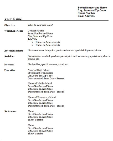 free resume templates for high school students with no experience student resume template 21 free sles exles