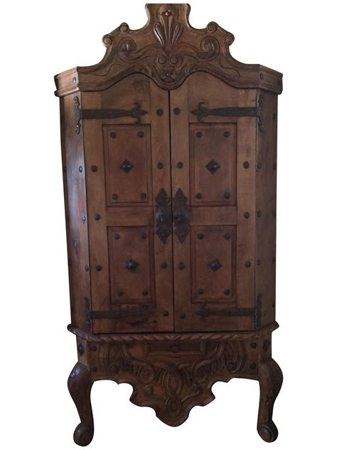 mexican armoire hand carved mesquite wood mexican armoire chairish