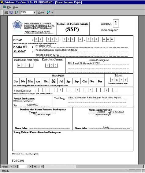contoh laporan surat setoran pajak