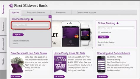 bank portal midwest bank banking sign in login