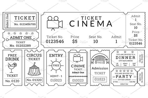 Ticket Templates Pack Illustrations Creative Market Ticket Layout Template Free