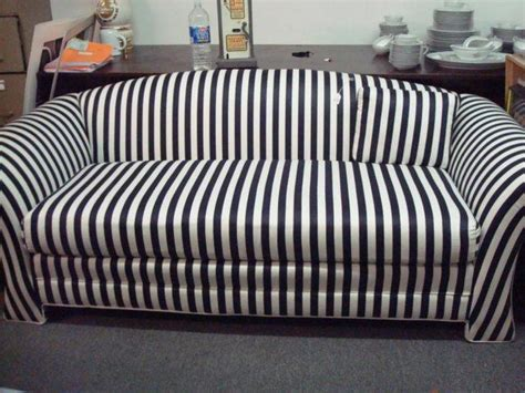 black and white striped upholstered sofa