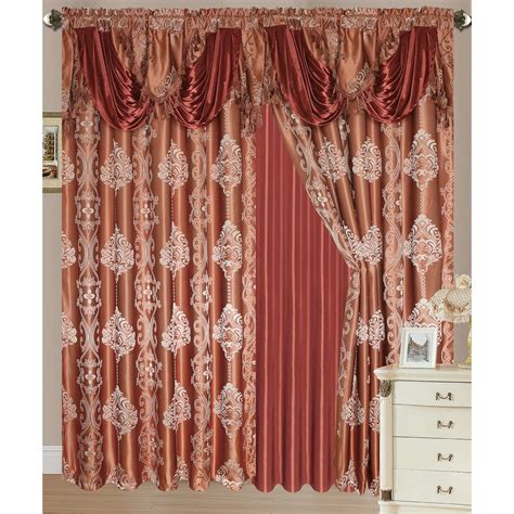 double rod pocket curtains rosetta jacquard rod pocket double curtain panel 54x84 18