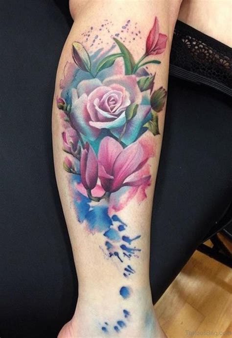 roses tattoo on leg 50 flowers tattoos on leg