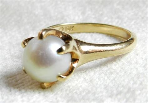 pearl engagement ring 8 mm cultured pearl antique