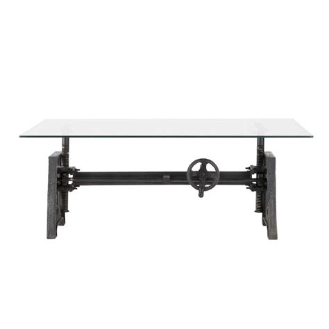 Metal Industrial Coffee Table Glass And Metal Industrial Coffee Table W 135cm Garibaldi Maisons Du Monde