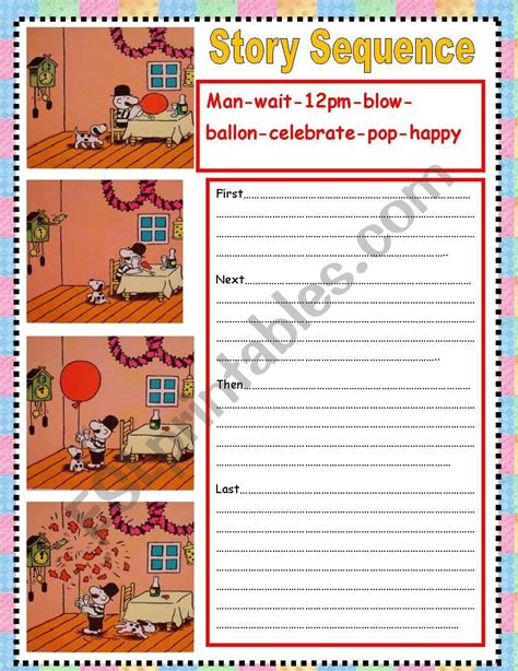story sequence esl worksheet by nora85