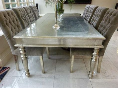 Silver Dining Table And Chairs 1000 Ideas About Metallic Furniture On Refurbished Mirror Silver Painted Furniture