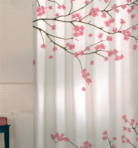 Pink Shower Curtains Fabric Floral Cherry Blossom Pink Brown White Quality Fabric Shower Curtain New Ebay