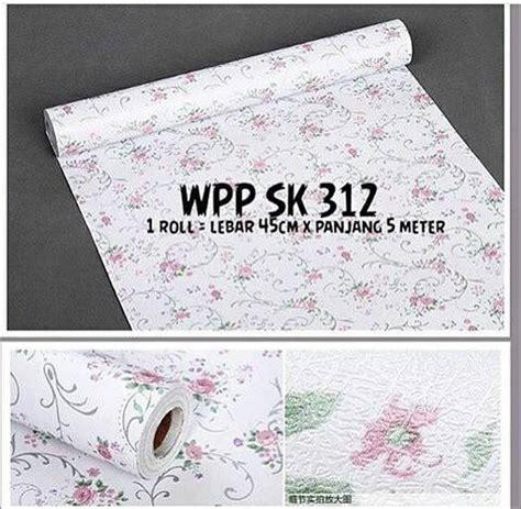 jual wallpaper dinding rumah warna putih motif bunga