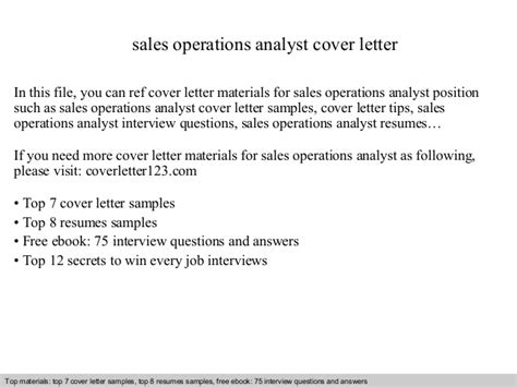 Cover Letter For Operations Analyst by Sales Operations Analyst Cover Letter
