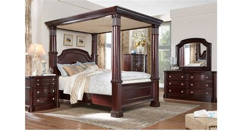 dumont bedroom set dumont cherry 9 pc queen canopy bedroom traditional