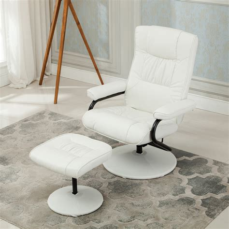 executive faux leather seat chair recliner swivel furniture  ottoman set ebay