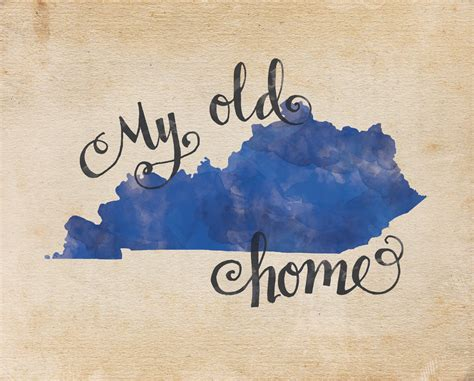 my old kentucky home hand lettering digital print quote