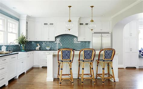 french blue and white ceramic tile backsplash interior design inspiration photos by amie corley