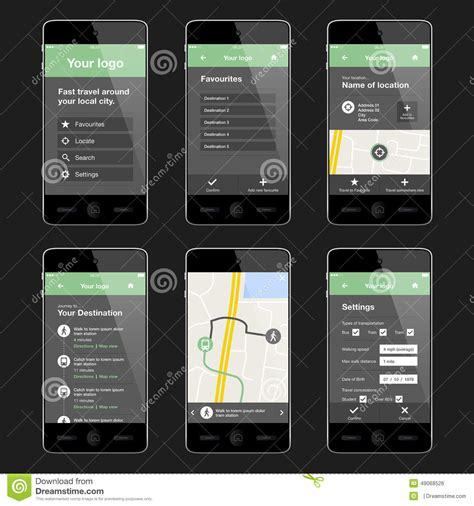 app layout design ios mobile travel app design layout stock vector image 49068526