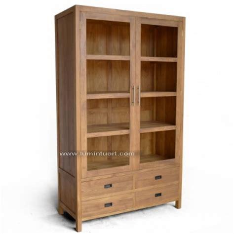 Rak Buku Kayu Jati Belanda rak buku pajangan minimalis kayu jati jepara 4 laci pintu