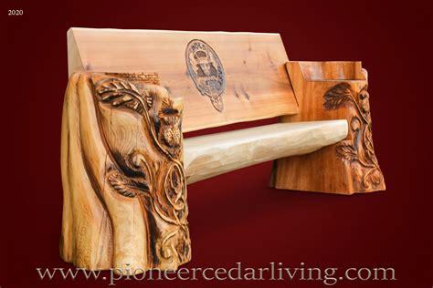 cedar log bench pioneer cedar living custom cedar log bench with celtic symbols pioneer cedar