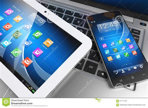 mobile tablet pc mobile devices tablet pc smartphone on laptop