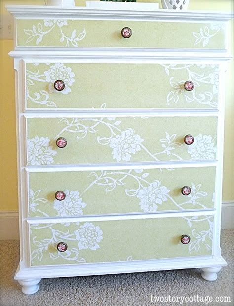 Decoupage Furniture With Wallpaper - wallpaper dresser tutorial complete with don ts