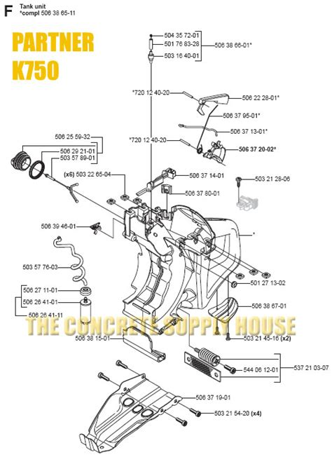 partner k750 parts diagram partner k750 tank unit parts tank unit parts diagram