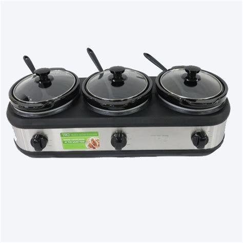 tru three crock buffet slow cooker stainless steel bs