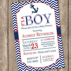 chevron nautical baby shower invitation blue anchor