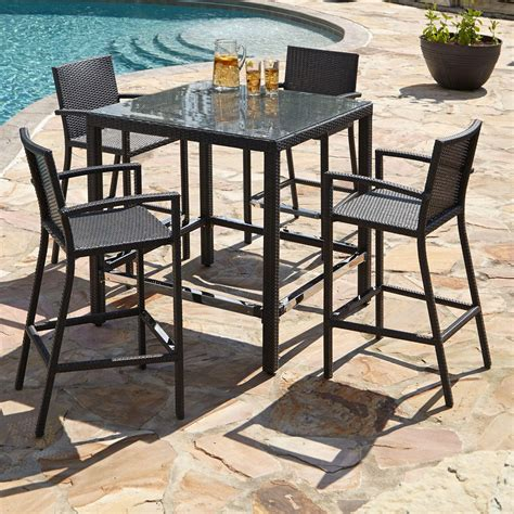 Patio Bar Table Set Michio Resin Wicker Outdoor 5 Bar Table And Arm Chair Set Outdoor