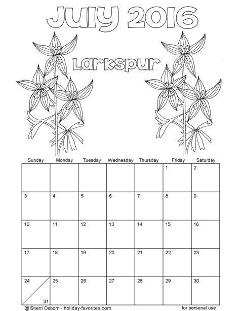 printable calendar 2016 to color printable july 2016 calendars holiday favorites