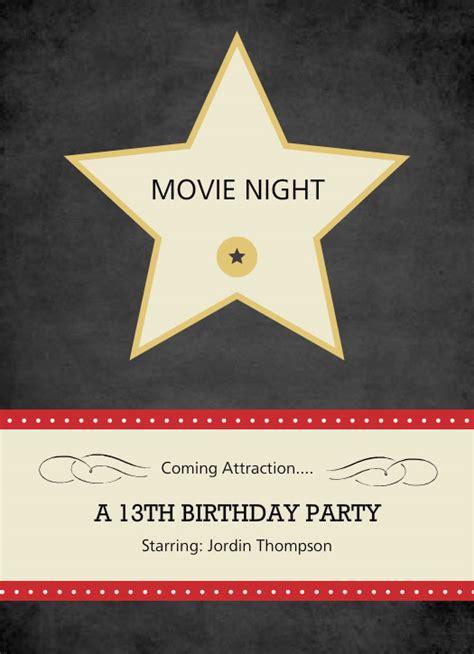 printable hollywood invitation templates movie night tv night hollywood star movie night invite