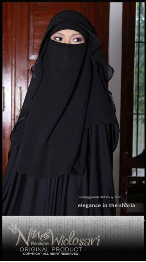 tutorial jilbab syar i instan niqab butterfly hitam material chiffon ceruty idr 200 000