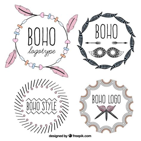 cute logo pattern cute logotypes in boho design vector free download