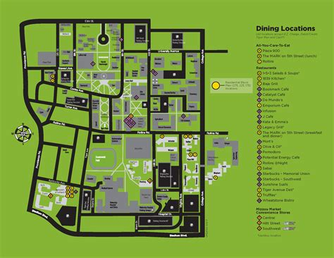 mizzou map map of locations cus dining services