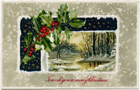 images of vintage christmas scenes winter scene holly and berries old design shop blog