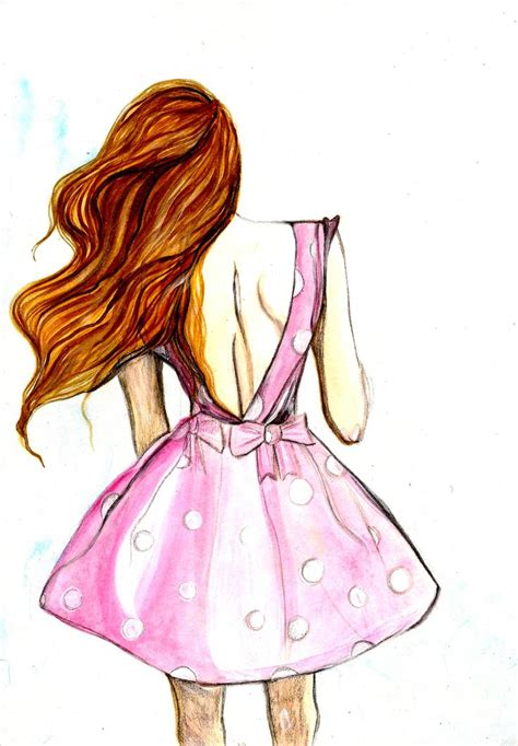 Pink Sketches by Fashion Pink Dress Pencil And In Color