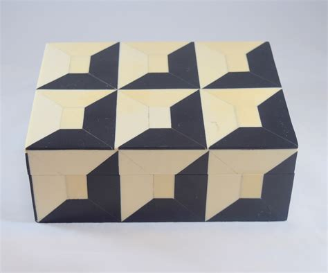 geometric pattern box black ivory bone inlaid geometric box jennifer garrigues