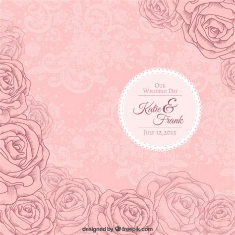 Vector Backgrounds With Roses For Invitations pink roses wedding invitation vector free