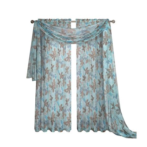 window elements ashville printed blue sheer curtain scarf