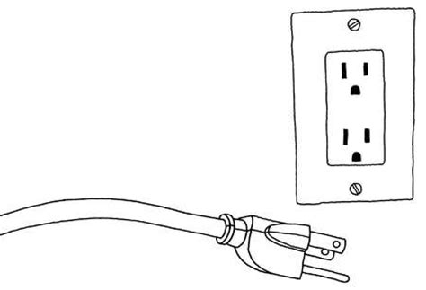 stock illustration cord next to electric outlet