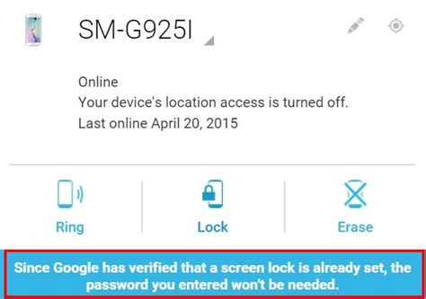 android device manager unlock how to unlock samsung galaxy s6 and s6 edge if you forget the screen lock password and your