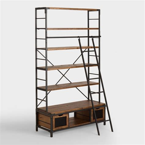 Wood And Metal Bookcase With Ladder World Market Wood Ladder Bookcase