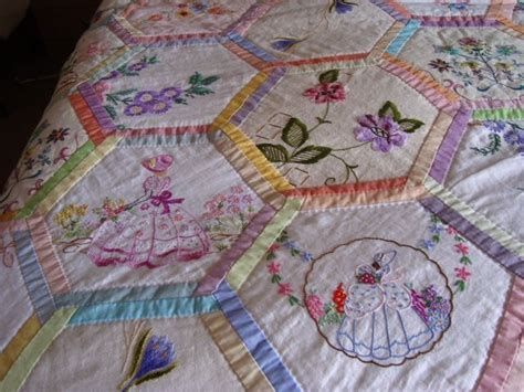 Embroidery Quilt by Vintage Embroidered Linen Quilting