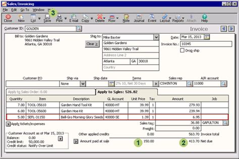 sle invoice partial payment sage 50 learning sales transactions