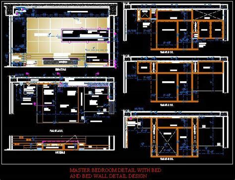 Master bedroom detail with bed and bed wall detail design.dwg Plan n Design