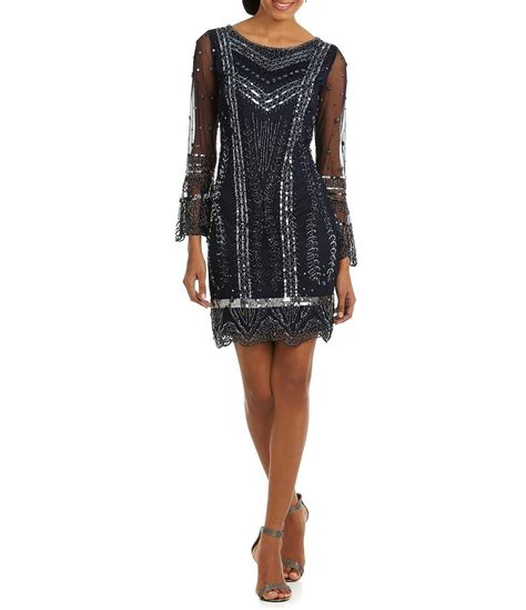 Beaded Sheath Dress pisarro nights beaded bell sleeve sheath dress dillards