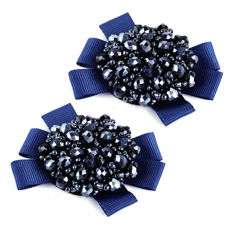 shoe accessories bows 2x rhinestone crystal beads bows shoe clips for women